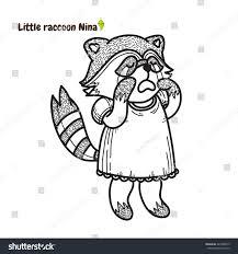 vector cartoon element design kawaii raccoon stock vector
