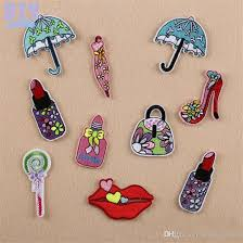 umbrella lipstick iron on patches embroidered high heel shoes