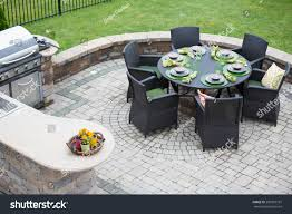 Living Spaces Kitchen Tables by Elegant Outdoor Living Space On Paved Stock Photo 209387797