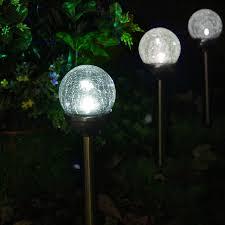 crackle glass solar color changing u0026 white led copper path lights