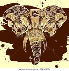 vector indian decorative elephant on henna stock vector 268823504
