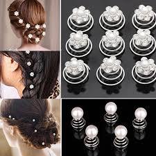hair spirals 12x wedding bridal hair pins rhinestone twists coil flower swirl