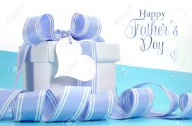 happy fathers day gifts blue fathers day gift with beautiful stripe ribbon and heart