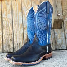 Comfortable Cowboy Boots Anderson Bean Men U0027s Black Smooth Ostrich W Blue Top Square Toe