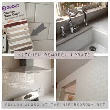 subway tile the inspired room what color is my subway tile grout a kitchen remodel progress report