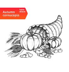 cornucopia horn of plenty with autumn harvest symbols