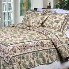 Shams Bedding King Size Cotton Quilt Set 3 Piece Sage Green Floral Bedding Shams
