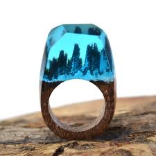 buy wood rings images Handmade wooden resin ring with magnificent tiny fantasy snow jpg