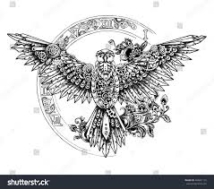 mechanic tattoo drawing graphic mechanical bird spread wings on stock vector 408061129