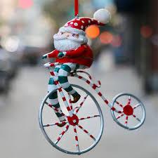 santa claus bicycle ornament gift