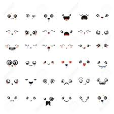 doodle emoticon set of lovely kawaii emoticon doodle in