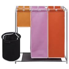 Laundry Divider Hamper by Vidaxl Co Uk 3 Section Laundry Sorter Hamper With A Washing Bin