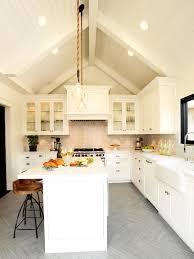 Vaulted Ceiling Kitchen Ideas Kitchen Style Hanging Pendant Lights White Subway Tile Chevron