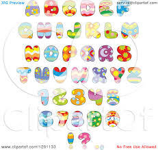 themed letters clipart of colorful funky patterned easter themed alphabet letters