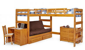this sprawling piece of furniture sports two upper level beds in an l shaped array