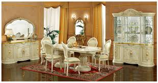 esf furniture leonardo 7pc dining table set in ivory by dining