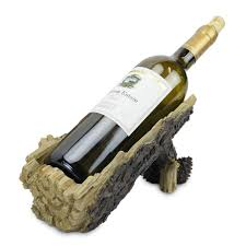 log wine bottle holder