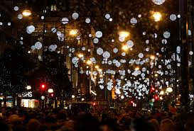 falling snowflake christmas lights silver lights and 445 golden baubles have been installed along the