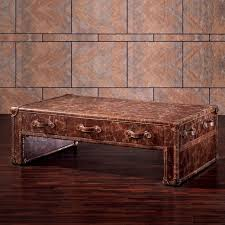 Leather And Wood Coffee Table Customized European Style Leather Furniture Coffee Table With