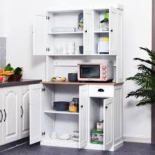 homcom kitchen pantry cupboard wooden storage cabinet organizer shelf white homcom 71 wood kitchen pantry microwave oven stand storage cabinet with storage white oak grain