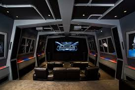 Star Wars Bedroom Furniture by Star Wars Themed Custom Home Theater With Built In Leather Seating