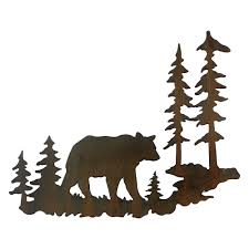 woodland bear metal wall art