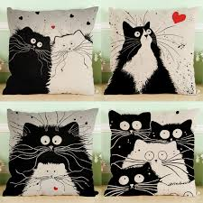 My Neighbor Totoro Single Sofa Black White Couple Cats My Neighbor Totoro Wedding Gift Cushion