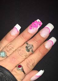 pink and white glitter 3d flower anc nail design nail art french