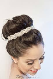 bridal hair bun captive crystals headband hair bun bridal ribbon