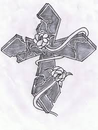 stone cross with a rose vine photos for tattoo man tattoomagz