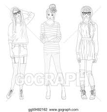 vector art tennagers fashion model girls clipart drawing