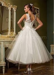 wedding dress with beading chic tulle sheer neckline ankle length gown wedding dress