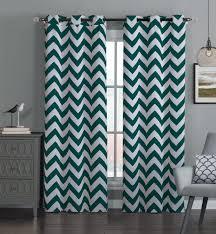 navy chevron curtains interior design