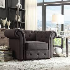 linon home decor tyrone charcoal microfiber tufted arm chair
