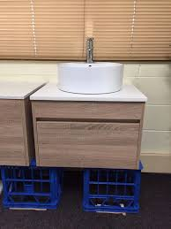 Bathroom Vanity Stone Top by Ibiza 600mm White Oak Timber Wood Grain Wall Hung Bathroom