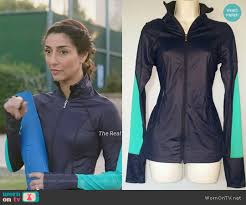 wornontv delia u0027s navy and turquoise workout jacket on girlfriends