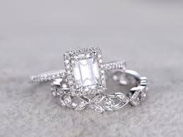 engagement rings sets 2pcs radiant cut moissanite engagement rings sets diamond matching