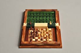 book wooden magnetic travel chess set small house of staunton