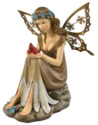 garden statue solar powered fairy bird glows light night decor
