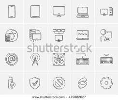 technology sketch icon set web mobile stock vector 475881832