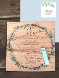 printed on wood circle of blossoms invitation online australia