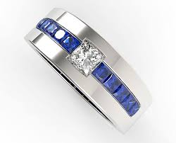 mens blue wedding bands princess cut blue sapphire and diamond wedding band for mens