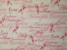fabric ribbons breast cancer pink ribbons inspirational words cotton fabric