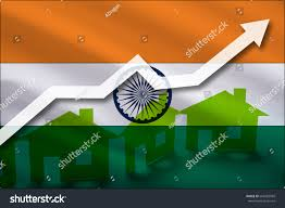 The Flag Of India Flag India Rising Prices Real Estate Stock Illustration 664582969