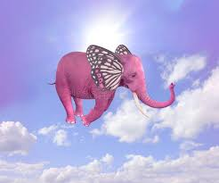 elephant butterfly flying in the sky stock illustration
