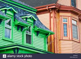 painted houses brightly painted houses in lunenburg nova scotia canada stock