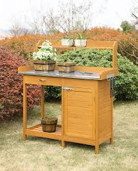 Serving Station Patio Cabinet Amazon Com Convenience Concepts Deluxe Potting Bench With