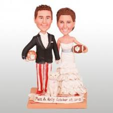 personalised new york giants football wedding cake toppers bride