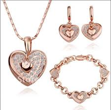 necklace earring bracelet set images Plated 18k rose gold crystal heart pendant necklace earrings jpg