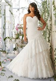 vintage style mermaid tiered lace wedding gown plus size up to